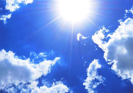 cielo azul y sol amarillo