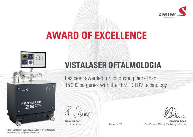 Award of Excellence Vistalaser Oftalmologia